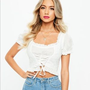 Brand new White Lace Up Top